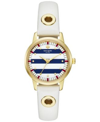 kate spade new york Women's Mini Metro White Leather Strap Watch 26mm KSW1136