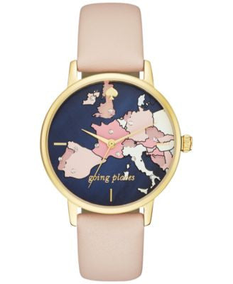 kate spade new york Women's Metro Vachetta Leather Strap Watch 34mm KSW1139