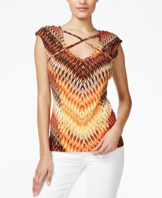 GUESS Bailey Cap-Sleeve Printed Top