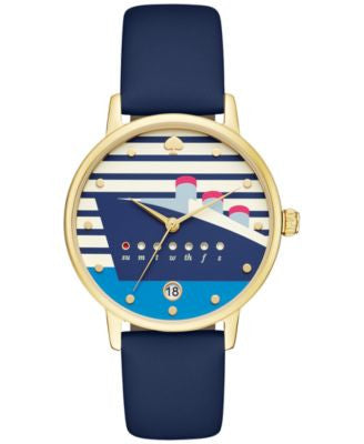 kate spade new york Women's Metro Navy Blue Leather Strap Watch 34mm KSW1138