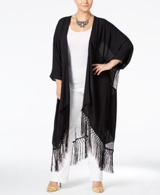 Melissa McCarthy Seven7 Trendy Plus Size Lace-Back Fringe Duster Cardigan