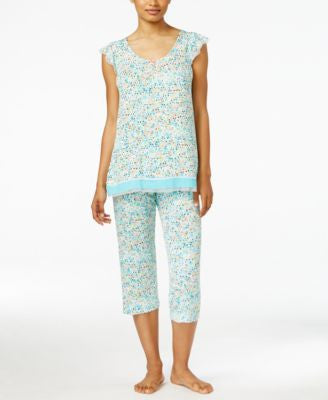 Ellen Tracy Mesh-Trim Top & Cropped Pajama Pants Sleep Separates