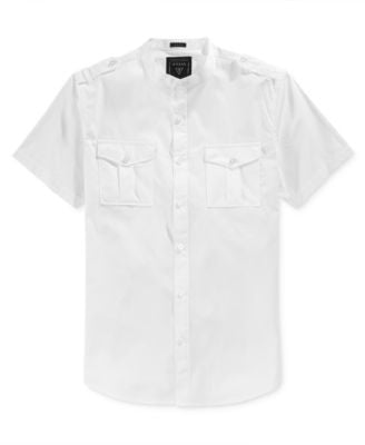 GUESS Men's Dual-Pocket Quinton Striped Short-Sleeve Shirt