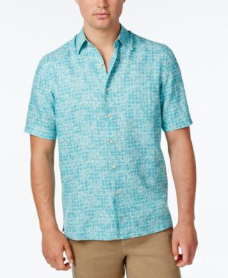 Tasso Elba Men's Leaf Print Short-Sleeve Shirt, Only at Vogily