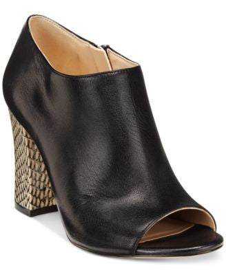 Nine West Brayah Peep-Toe Block-Heel Booties