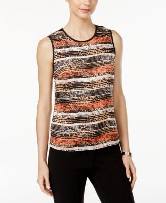 Kasper Sleeveless Graphic-Print Shell
