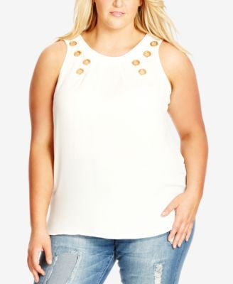 City Chic Plus Size Eyelet-Trim Tank Top