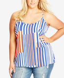 City Chic Plus Size Striped Racerback Tank Top