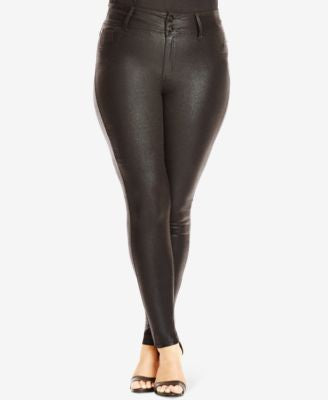 City Chic Plus Size Black Wash Coated Denim Jeans