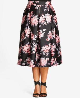 City Chic Plus Size Floral-Print Sateen Midi Skirt