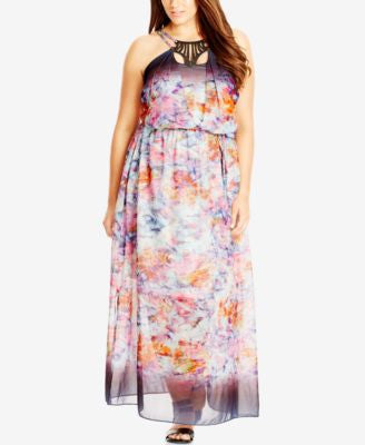 City Chic Plus Size Cutout Chiffon Halter Maxi Dress