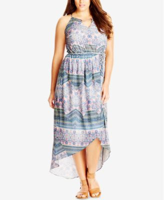 City Chic Plus Size Printed High-Low Maxi Dress