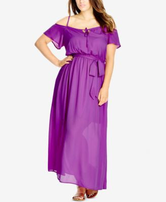 City Chic Plus Size Cold-Shoulder Peasant Maxi Dress