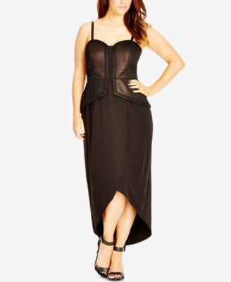 City Chic Plus Size Convertible Metallic Maxi Dress
