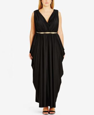 City Chic Plus Size Gathered Belted Maxi Dress