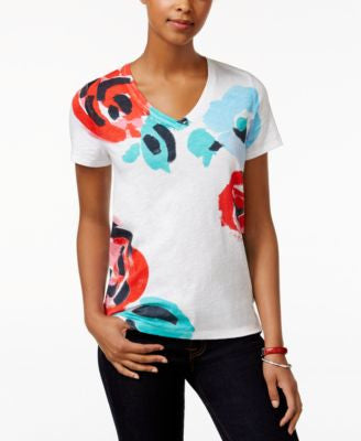 Tommy Hilfiger Short-Sleeve Floral-Print Top