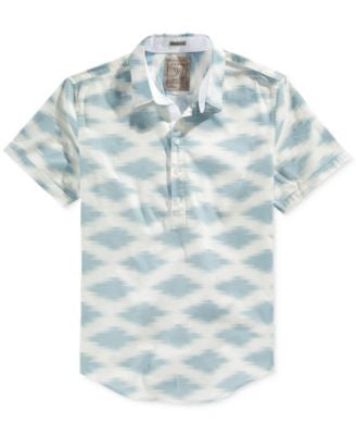 GUESS Men's Oasis-Print Half-Button Shirt