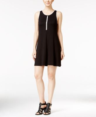kensie Zip-Up Fit & Flare Tank Dress