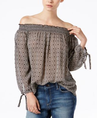 Sanctuary Gianna Printed Off-The-Shoulder Top