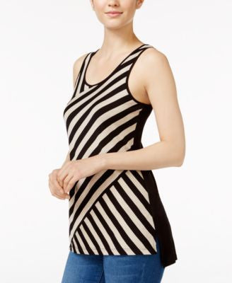 kensie Bias-Cut Striped Tank Top