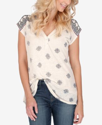 Lucky Brand Cap-Sleeve Printed Henley Top