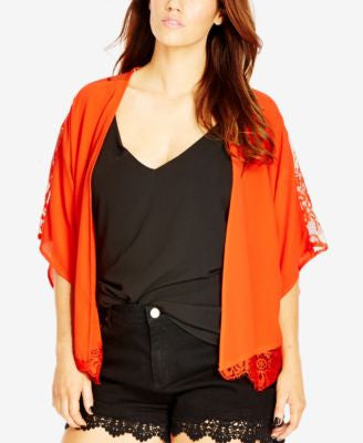 City Chic Plus Size Lace-Trim Kimono Cardigan