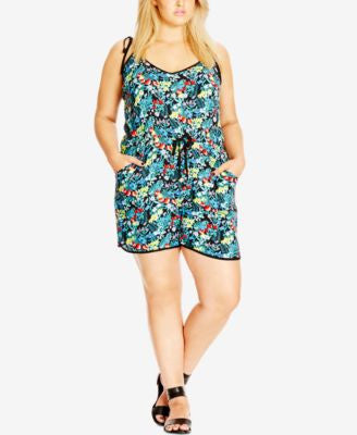 City Chic Plus Size Floral-Print Drawstring Romper