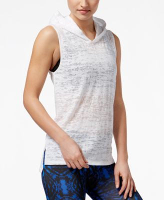 Material Girl Active Juniors' Sheer Sleeveless Hoodie, Only at Vogily