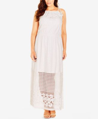City Chic Plus Size Tie-Strap Illusion Maxi Dress