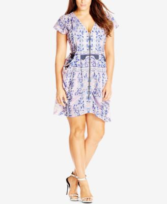 City Chic Plus Size Zip-Front Print Tunic Dress