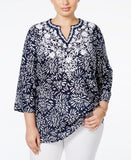Charter Club Plus Size Floral Embroidered Linen Tunic, Only at Vogily