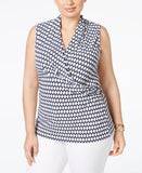 Charter Club Plus Size Geometric-Print Surplice Sleeveless Top, Only at Vogily