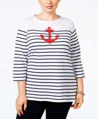 Charter Club Plus Size Striped Anchor Graphic Top, Only at Vogily