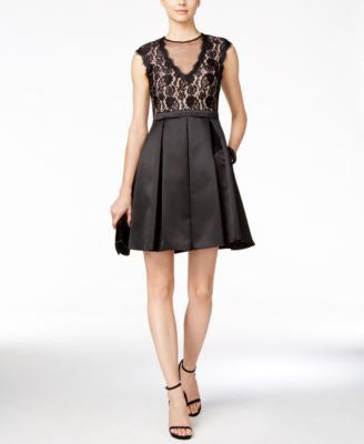 B&A by Betsy & Adam Illusion Lace Fit & Flare Dress