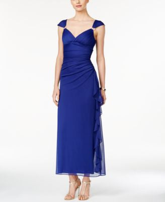 B&A by Betsy and Adam Embellished Ruched Gown