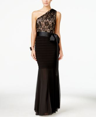 B&A By Betsy & Adam Lace One-Shoulder Mermaid Gown