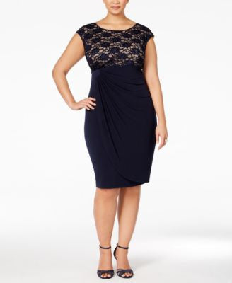 Connected Plus Size Sequined Lace Faux-Wrap Cocktail Dress