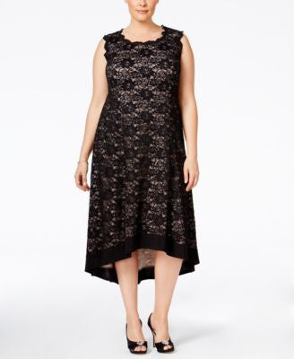 R & M Richards Plus Size Open-Back Lace Dress