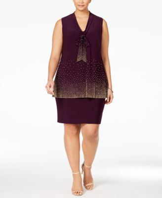 Betsy & Adam Plus Size Embellished Tie-Neck Popover Dress