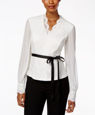 Alex Evenings Long-Sleeve Belted Lace Blouse