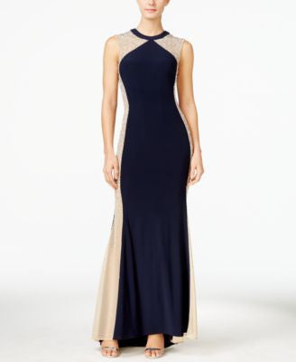 Xscape Embellished Illusion Colorblocked Gown