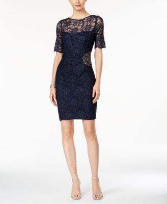 Xscape Embellished Lace Sheath Dress