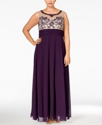 Xscape Plus Size Embellished Illusion Empire Dress