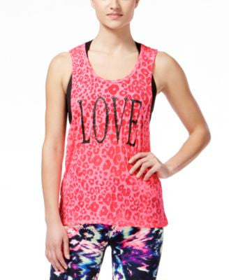 Material Girl Active Juniors' Cutout-Back Graphic Tank Top, Only at Vogily