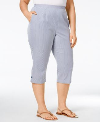 Alfred Dunner Plus Size St. Augustine Collection Seersucker Capri Pants