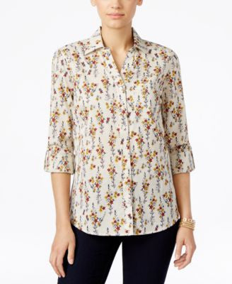 Style & Co. Floral-Print Button-Front Shirt, Only at Vogily
