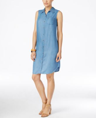 Style & Co. Petite Sleeveless Denim Shirtdress, Only at Vogily