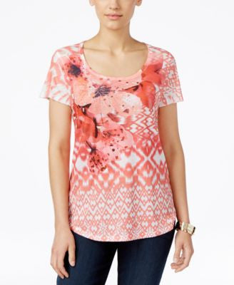 Style & Co. Petite Embellished Printed T-Shirt, Only at Vogily