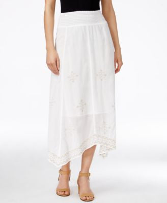 Style & Co. Embroidered Handkerchief-Hem Midi Skirt, Only at Vogily