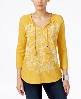 Style & Co. Embroidered Peasant Top, Only at Vogily